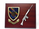 ROYAL MARINES ( RM ) MESS SHIELD AND SLR COMBAT PLAQUE
